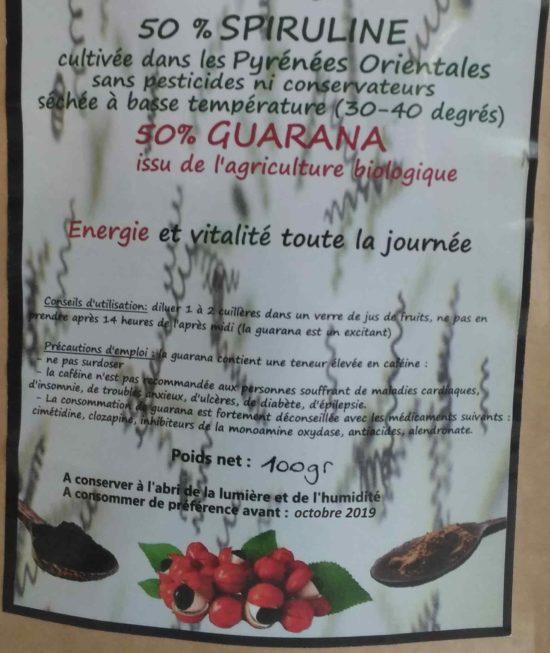 etiquette spiruline guarana