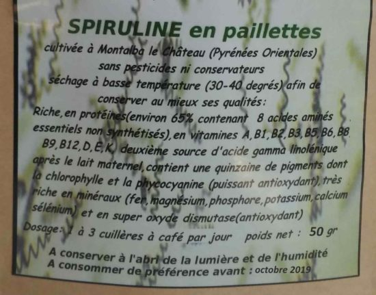 etiquette spiruline 50 gr