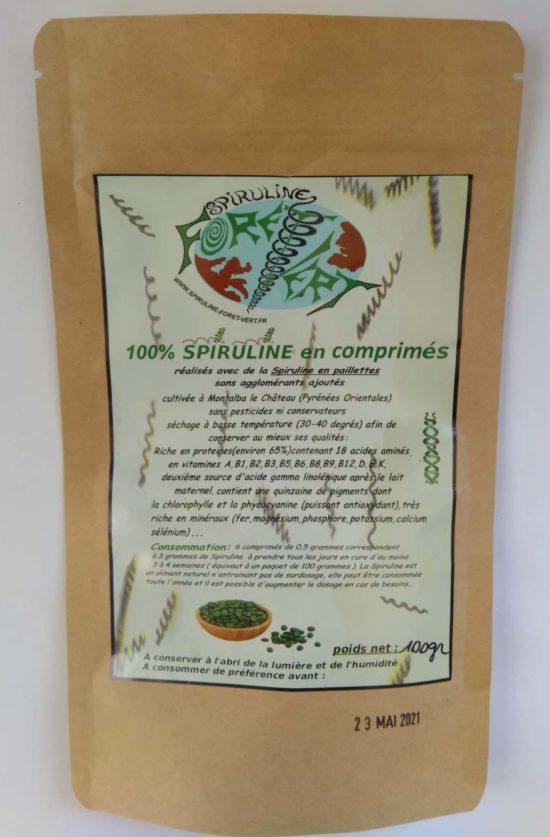 100 grammes de Spiruline en comprimés